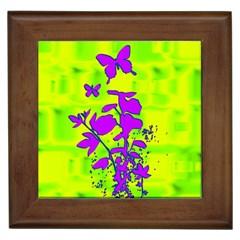 Butterfly Green Framed Ceramic Tile