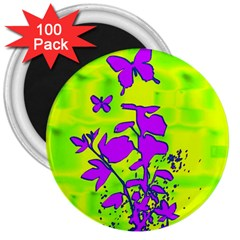 Butterfly Green 3  Button Magnet (100 pack)