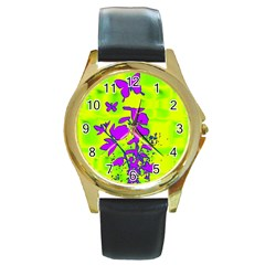 Butterfly Green Round Leather Watch (Gold Rim)