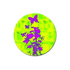 Butterfly Green Magnet 3  (Round)