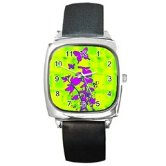 Butterfly Green Square Leather Watch