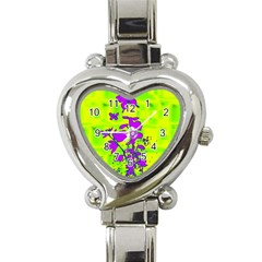Butterfly Green Heart Italian Charm Watch