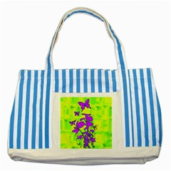 Butterfly Green Blue Striped Tote Bag