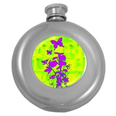 Butterfly Green Hip Flask (Round)