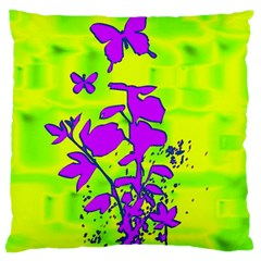 Butterfly Green Large Cushion Case (two Sided)