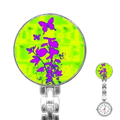 Butterfly Green Stainless Steel Nurses Watch