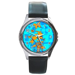 Butterfly Blue Round Leather Watch (Silver Rim)