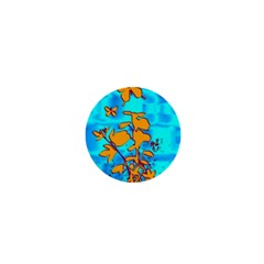 Butterfly Blue 1  Mini Button Magnet