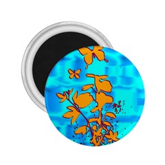 Butterfly Blue 2.25  Button Magnet