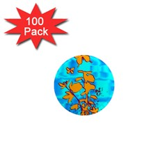 Butterfly Blue 1  Mini Button Magnet (100 pack)