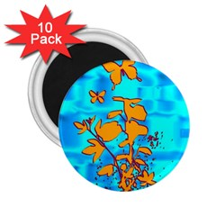 Butterfly Blue 2 25  Button Magnet (10 Pack)