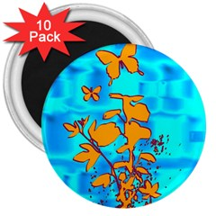 Butterfly Blue 3  Button Magnet (10 Pack)