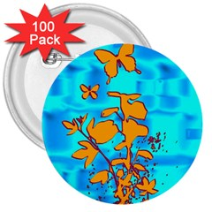 Butterfly Blue 3  Button (100 pack)