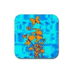 Butterfly Blue Drink Coaster (square)