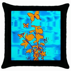 Butterfly Blue Black Throw Pillow Case