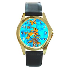 Butterfly Blue Round Leather Watch (Gold Rim)