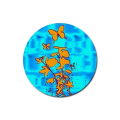 Butterfly Blue Drink Coasters 4 Pack (Round)