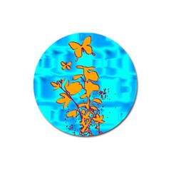 Butterfly Blue Magnet 3  (Round)