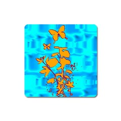 Butterfly Blue Magnet (square)