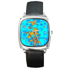 Butterfly Blue Square Leather Watch