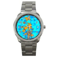 Butterfly Blue Sport Metal Watch