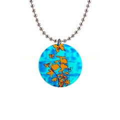 Butterfly Blue Button Necklace