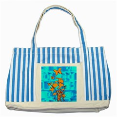 Butterfly Blue Blue Striped Tote Bag