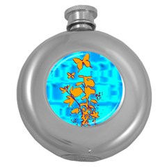 Butterfly Blue Hip Flask (Round)
