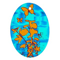 Butterfly Blue Oval Ornament (two Sides)