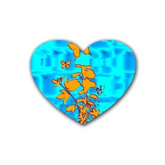 Butterfly Blue Drink Coasters (heart)