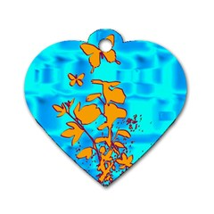 Butterfly Blue Dog Tag Heart (one Sided)