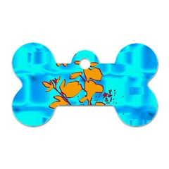 Butterfly Blue Dog Tag Bone (One Sided)
