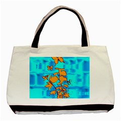 Butterfly Blue Twin Sided Black Tote Bag