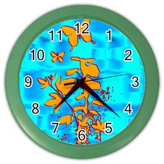Butterfly Blue Wall Clock (Color)