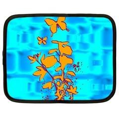 Butterfly Blue Netbook Sleeve (Large)