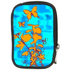 Butterfly Blue Compact Camera Leather Case