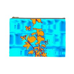 Butterfly Blue Cosmetic Bag (Large)