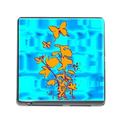 Butterfly Blue Memory Card Reader with Storage (Square)