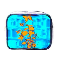 Butterfly Blue Mini Travel Toiletry Bag (one Side)