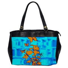 Butterfly Blue Oversize Office Handbag (One Side)
