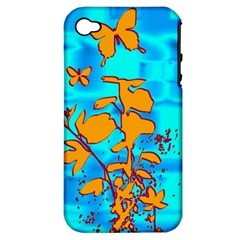 Butterfly Blue Apple Iphone 4/4s Hardshell Case (pc+silicone)