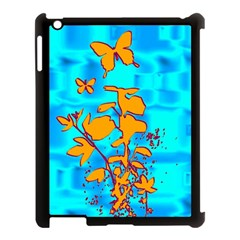 Butterfly Blue Apple iPad 3/4 Case (Black)