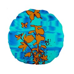 Butterfly Blue 15  Premium Round Cushion