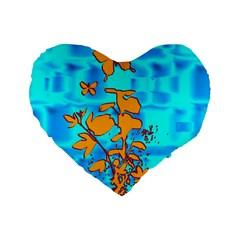 Butterfly Blue 16  Premium Heart Shape Cushion