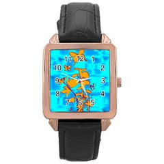 Butterfly Blue Rose Gold Leather Watch