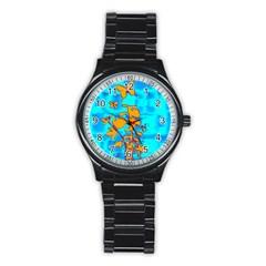Butterfly Blue Sport Metal Watch (Black)
