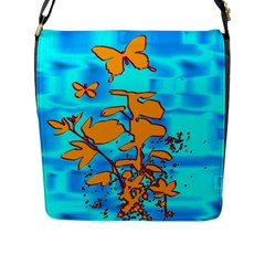 Butterfly Blue Flap Closure Messenger Bag (Large)