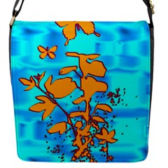 Butterfly Blue Flap Closure Messenger Bag (small)