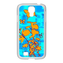 Butterfly Blue Samsung GALAXY S4 I9500/ I9505 Case (White)