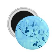 Floral Blue 2.25  Button Magnet